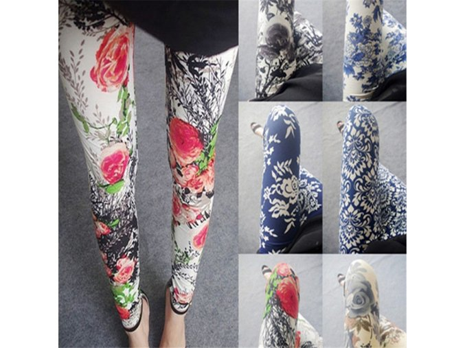 Hot New Spring Legging National Ethnic Style Retro Graffiti Paintings Printing Flowers Trousers Printed High Elasticity