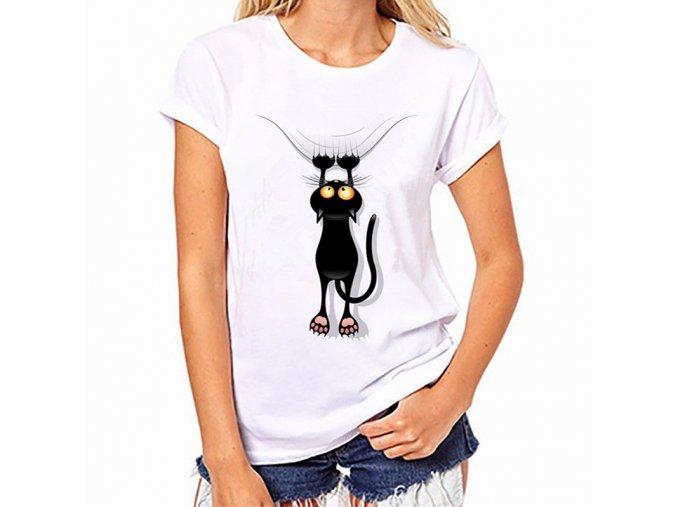 Stylové bílé dámské tričko s padající kočkou