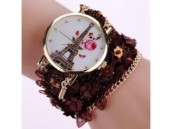 Náramkové hodinky s Eiffelovou věží hnědé