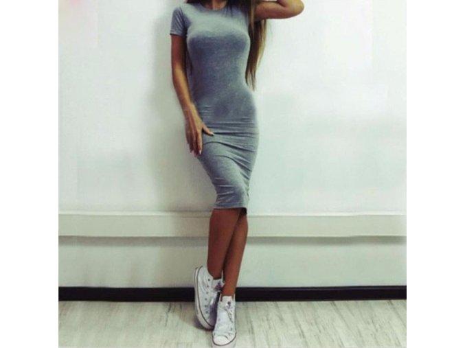 Elegantní přiléhavé dámské šaty šedé