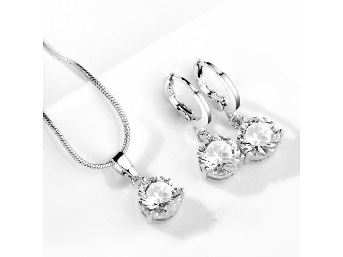 Stylový set šperků se zirkony bílý