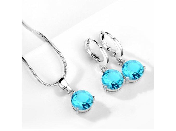 Stylový set šperků se zirkony tyrkysový