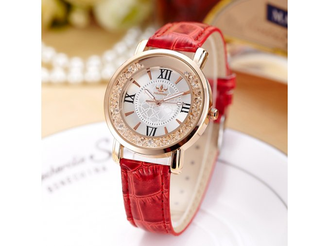 Luxusní dámské hodinky s krystaly červené