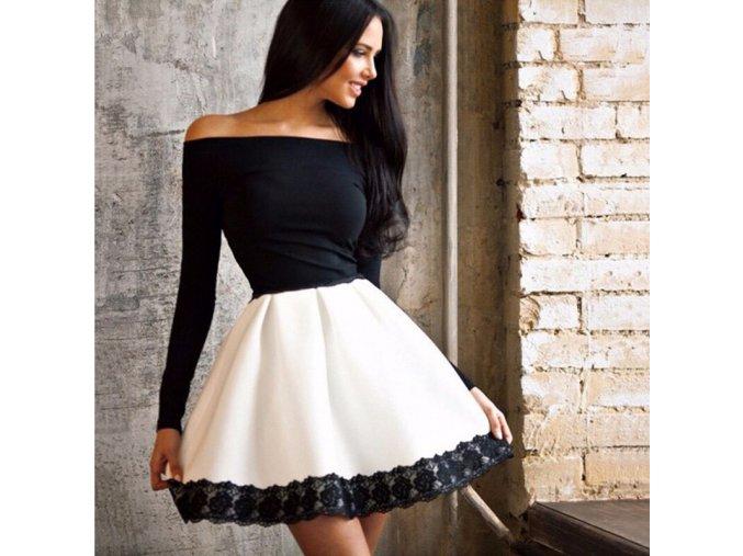 Stylové černobílé šaty s krajkou