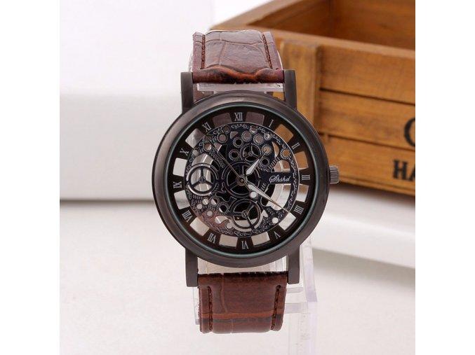 Stylové hodinky Skeleton hnědé