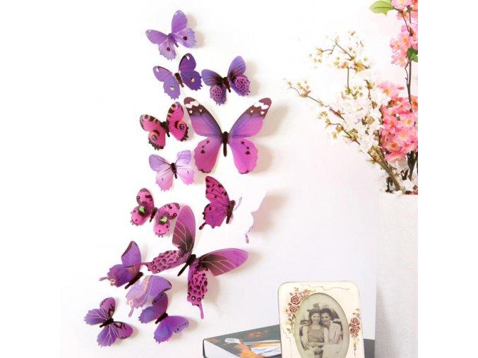 Dekorace na zeď - 3D motýlci