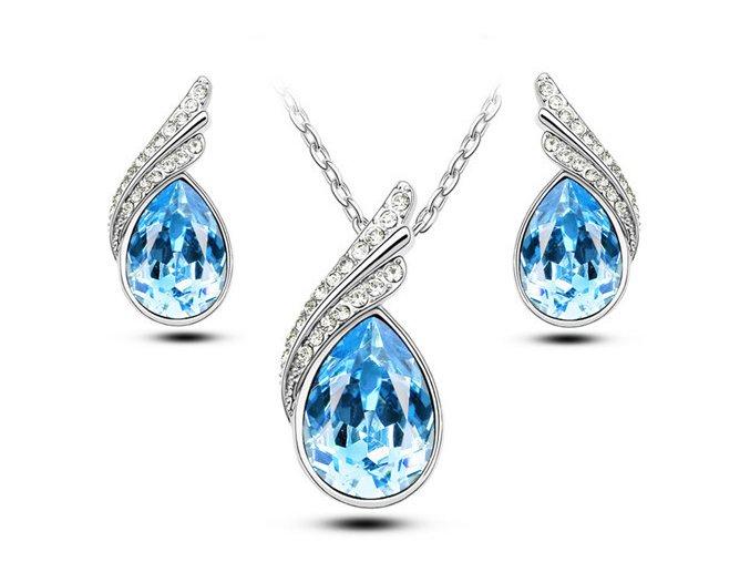 Dámská sada svatebních šperků (Barvy světle modrá)