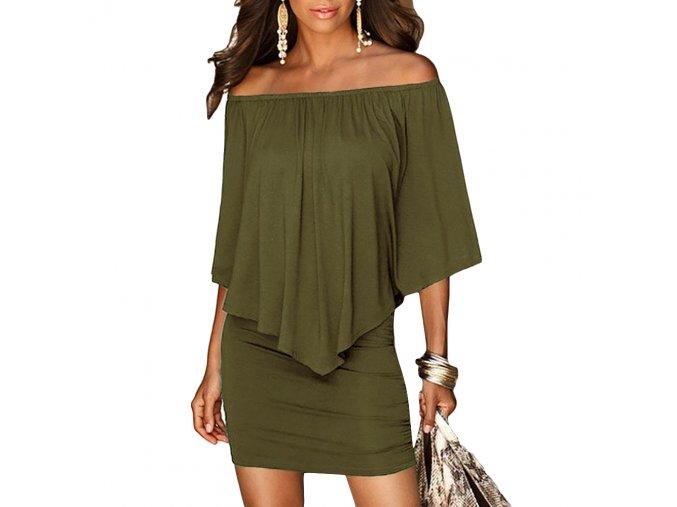 Dámské šaty CAROLINE (barva Zelená, Velikost XL)
