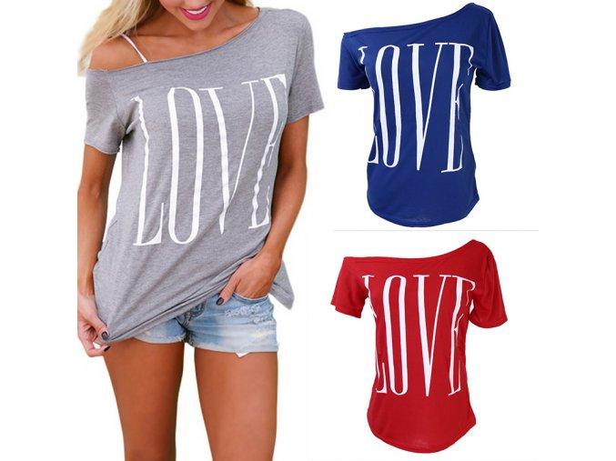 Dámské tričko Love různé barvy (barva šedá, Velikost XL)