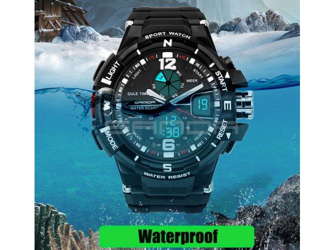 Pánské sportovní vodotěsné hodinky (Barvy černá-modrá)