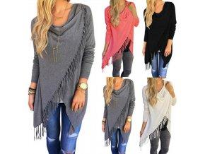 Dámský elegantní svetr (barva šedá, Velikost XL)