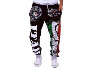Stylové šněrovací tepláky Italy černé (Velikost oblečení XL)