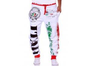 Stylové šněrovací tepláky Italy bílé (Velikost oblečení XXL)