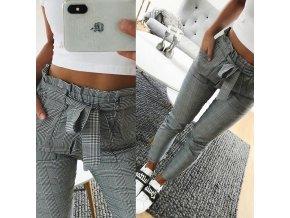 Dámské kostkované kalhoty s vysokým pasem