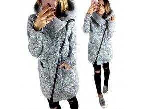 Dámský kabát s kapucí (barva šedá, Velikost 4XL)