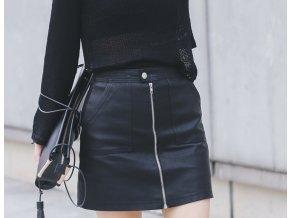 Koženková sukně s vysokým pasem