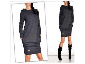 Dámské podzimní šaty (barva světle šedá, Velikost XL)