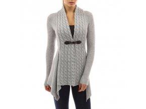 Dámský módní svetr (barva šedá, Velikost XL)