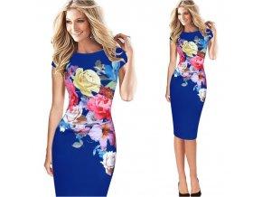 Šaty s potiskem květin Elena modrá