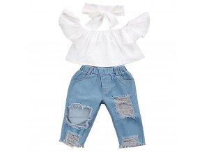 Dětský set oblečení - top + džíny + čelenka