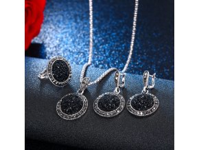 0 main vkme vintage crystal round jewelry for women charm necklace earrings color black fashion party earring jewelry new arrival