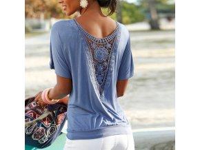Dámské volné tričko (barva Modrá, Velikost 5XL)