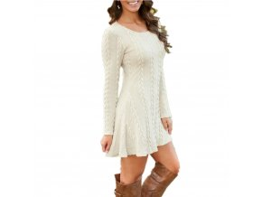 VITIANA Women Causal Plus Size S 5XL Short Sweater Dress Female Autumn Winter White Long Sleeve