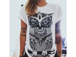 Dámské bavlněné triko se sovou