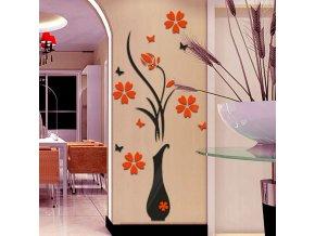 Váza s květinami - 3D samolepka na zeď