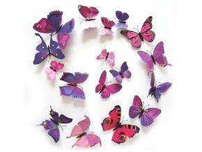 Motýli - 3D samolepka na zeď (Barvy modrá)