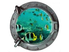 Okno z ponorky - 3D samolepka na zeď (Varianta 3)