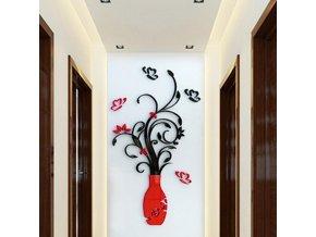 Červená váza s květinami - 3D samolepka na zeď (Barvy fialová)