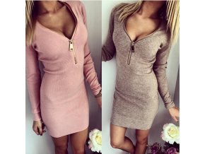 Dámské šaty s dlouhým rukávem (barva růžová, Velikost XL)