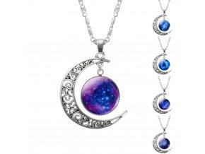 Dámský náhrdelník měsíc a vesmír