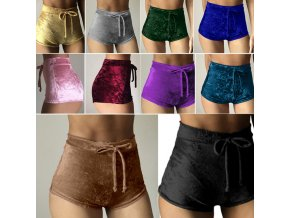 2017 Women Velvet Drawstring Shorts Casual High Waist Spring Summer Sexy Skinny Short Pants FS99.jpg 640x640