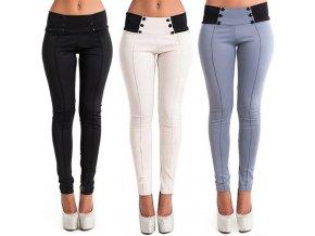 Dámské kalhoty s vysokým pasem (barva šedá, Velikost XL)