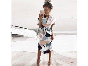 Dámské dlouhé retro šaty s páskem