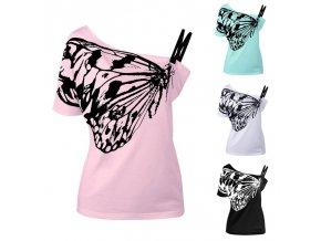Dámské tričko Butterfly (barva růžová, Velikost 2XL)