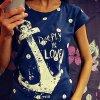 Dámské sexy tričko Deeply IN LOVE (barva Modrá, Velikost 2XL)
