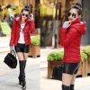 Červená zimní bunda s kapucí - SLEVA 40%