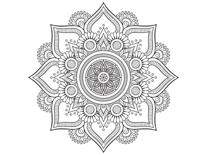 Mandala černobílá