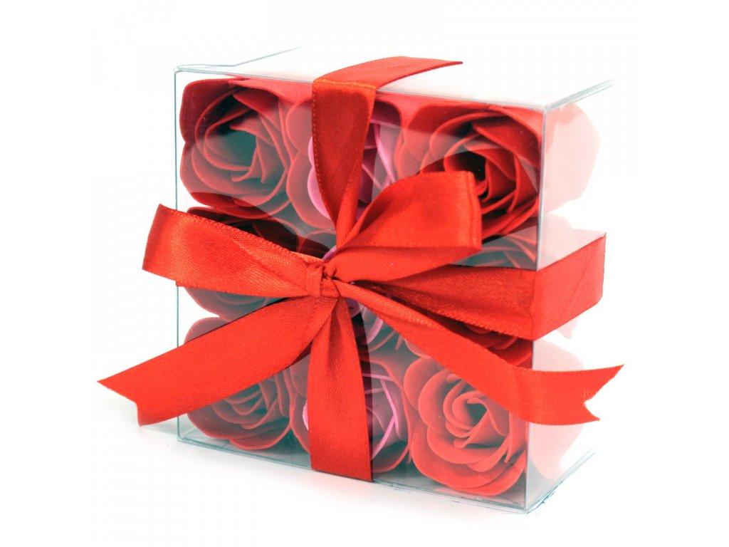 Sada 9 mydlových kvetov - Červené ruže