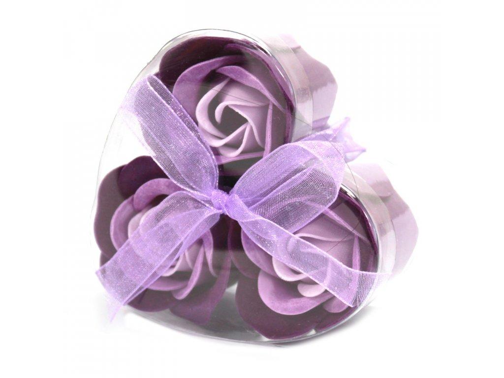 Sada 3 mydlových kvetov - Levanduľová ruža