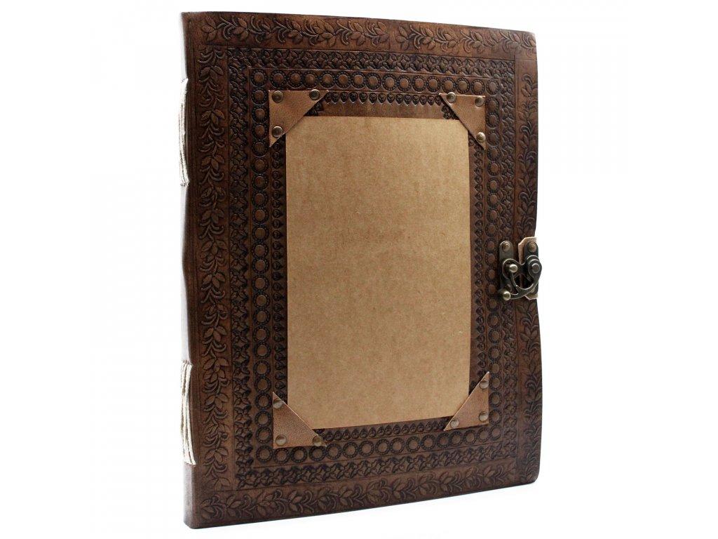 Veľký kožený zápisník - Prispôsobiteľný 25x32.5 cm (200 strán)