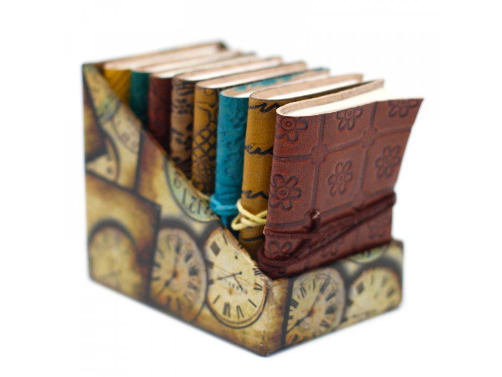 8x Mini kožený zápisník (10x7.5 cm) - Rôzne