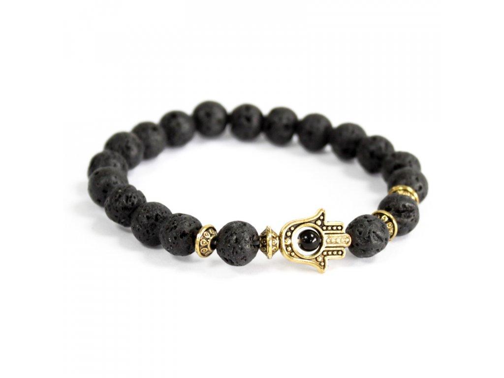 Zlatá Hamsa/lávový kameň - Náramky z drahých kameňov