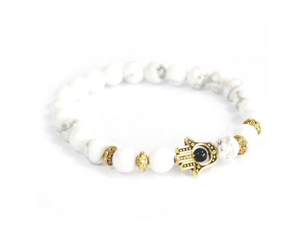 Zlatá Hamsa /Biely kameň - Náramky z drahých kameňov