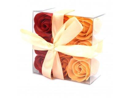 Sada 9 mydlových kvetov - Broskyňové ruže