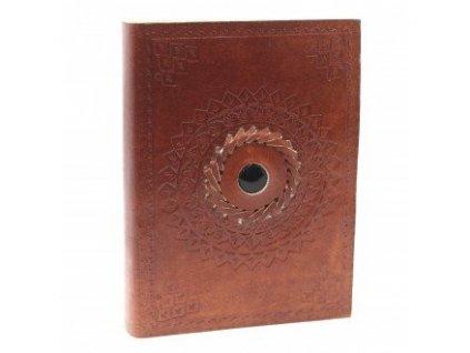 Kožený zápisník - Čierny onyx 17x12 cm
