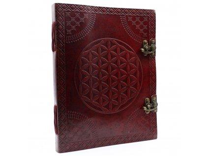 Veľký kožený zápisník - Kvet života 25x32.5 cm (200 strán)